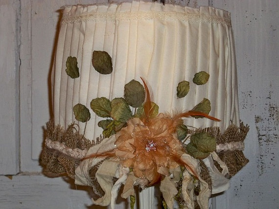 Handmade lampshade burlap muslin shabby by AnitaSperoDesign, $90.00