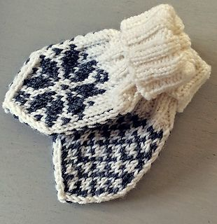 Very cute baby mittens with selbu roses.