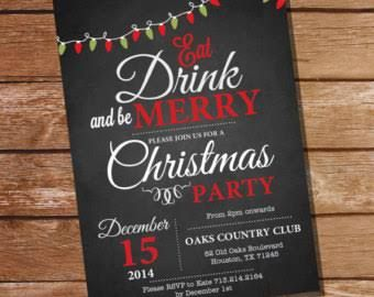 chalkboard christmas party invitation template free - Google Search