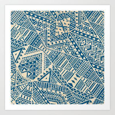 Tribal+(blue)++Art+Print+by+Terry+Fan+-+$18.00
