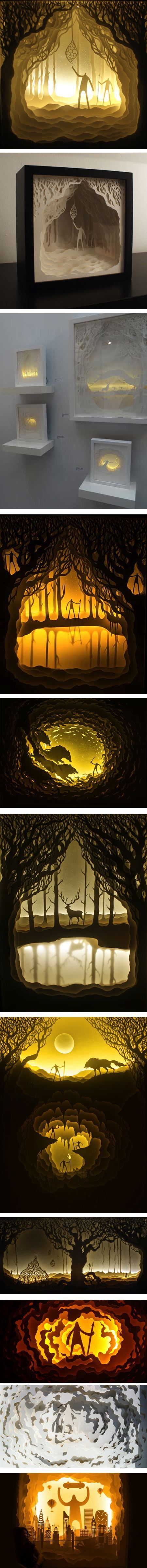 Illuminated cut paper shadowboxes by Harikrishnan Panicker and Deepti Nair | via Lines & Colors