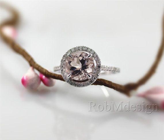 Halo-Morganit-Ring in 14 k Weissgold 8mm Morganit .32ct Runde Schnitt natürliche Diamanten Hochzeit Ring Edelstein Verlobungsring