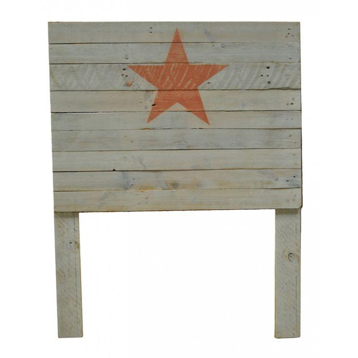 Cabecero blanco estrella naranja efecto envejecido