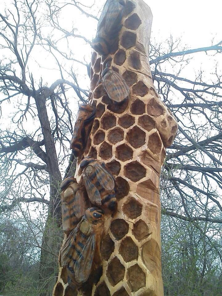 Honeybee wooden carving (or totem)
