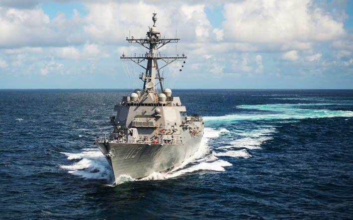Download wallpapers USS John Finn, DDG-113, warship, US Navy, destroyer, Arleigh Burke-class, ocean, USA