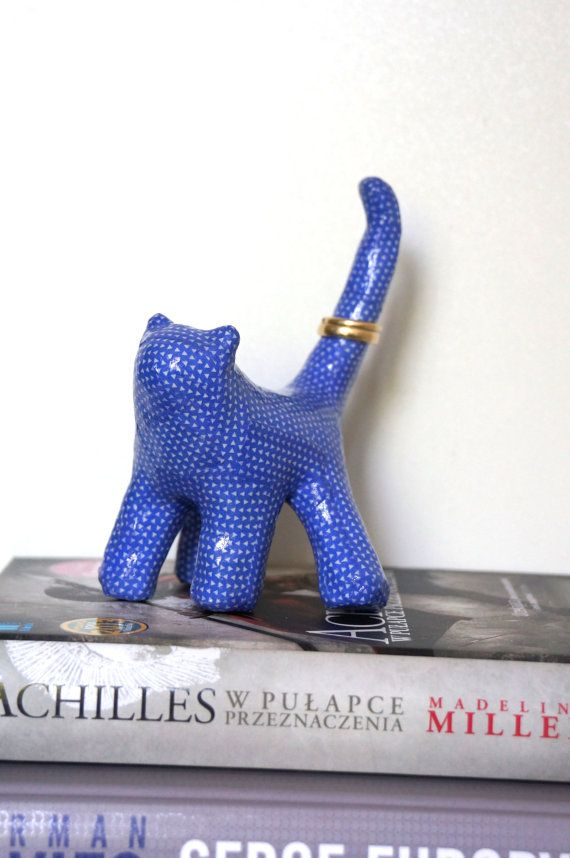 Cute & small little cat. Statue covered with blue by ankaGilding