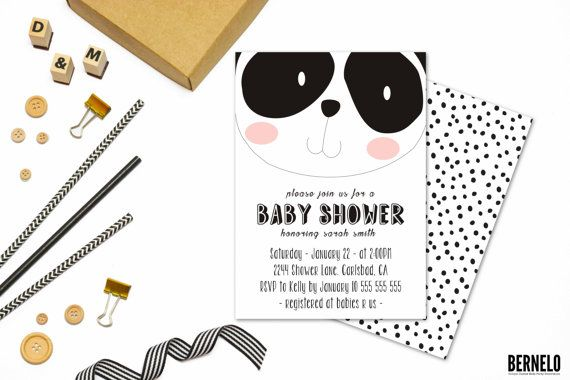 gender neutral baby shower invitations,baby shower decorations black,gender neutral baby shower,baby shower invite black,panda baby shower  Choose between the following:  1. Digital 5 x 7 invitation ( Front and back included)  OR  2.Digital 5 x 7 invitation ( Front and back included) and Thank you card 4x6  ************************************************************************ For similar products please visit the link below…
