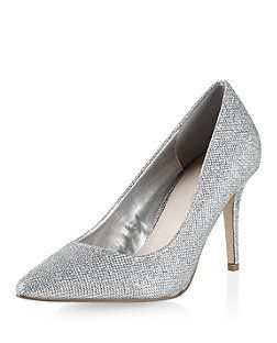 Silver Glitter Pointed Court Shoes | New Look