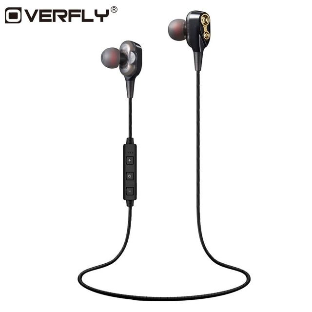 Overfly Double Dynamics Bluetooth Earphone Dual Driver With Mic Bass Headset With Mic Stereo Headphones For Mobil Headphones Wireless Earbuds Stereo Headphones