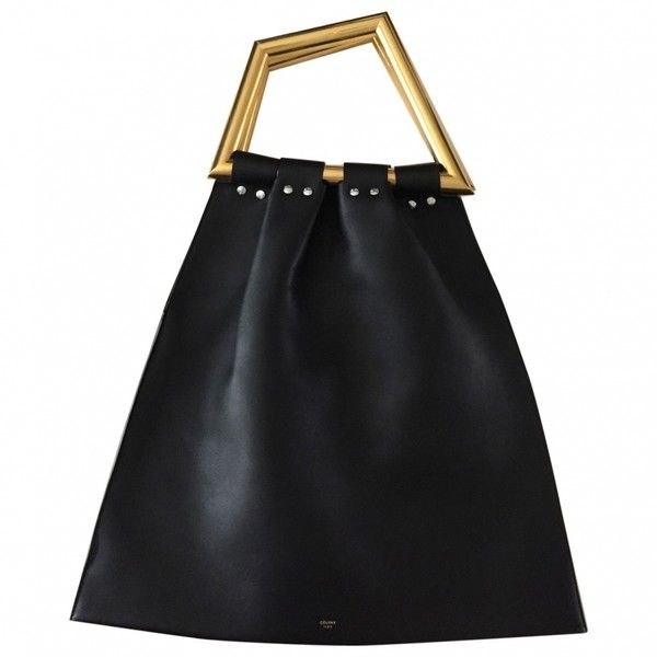 Black Leather Handbag CÉLINE ($2,785) ❤ liked on Polyvore featuring bags, handbags, leather purse, man bag, hand bags, genuine leather purse and leather handbags