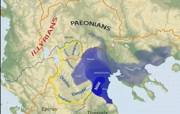 "Ancient Macedonia was a Greek kingdom on the northern Greek peninsula (Blue).  Modern Macedonia is a Greek province on the northern Greek peninsula.  The Former Yugoslav Republic that has usurped the name ""Macedonia"" is an unrelated Slavic Republic that occupies the ancient land of the kingdom of Paeonia."
