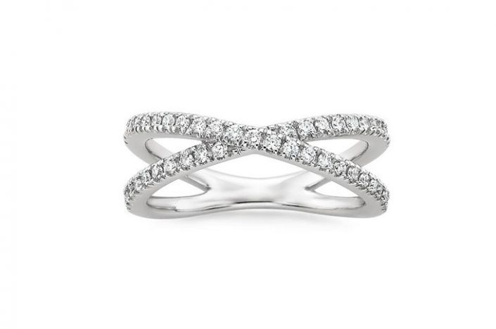 ''Trady'' Wedding Band For Woman Two delicate strands of precious metal wrap across each other in this contemporary ring, adorned with sparkling scalloped pavé diamonds. Ring Width: 1.8 mm  Small Diamonds: 42-44 Round Diamonds 1.4 mm