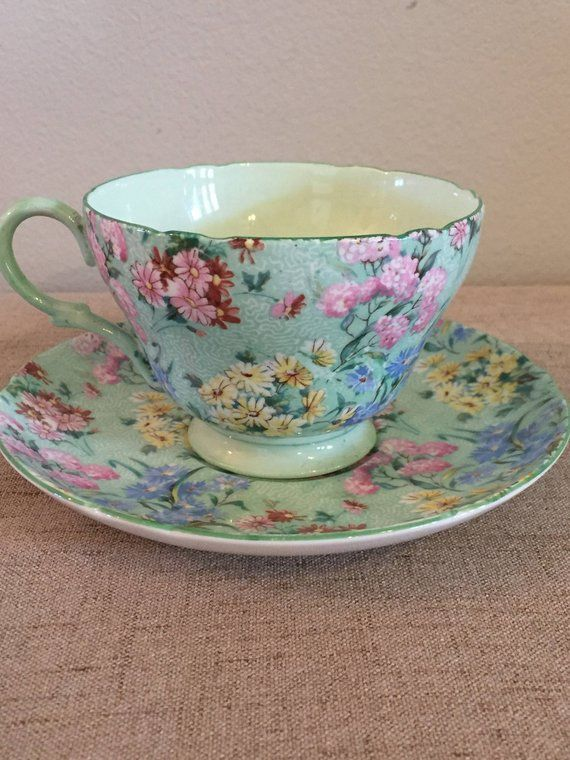 df33e008c9e On Sale Shelley Tea Cup and Saucer, Melody, Green, Floral, Bone China,  England, Flowers, Mint Green