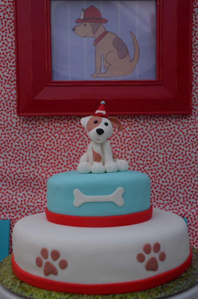 Fun cake at a puppy birthday party! See more party ideas at CatchMyParty.com!