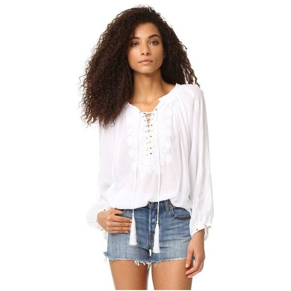 Melissa Odabash Alessandra Blouse ($220) ❤ liked on Polyvore featuring tops, blouses, white, white eyelet top, loose blouse, eyelet tops, loose fitting tops and loose tops