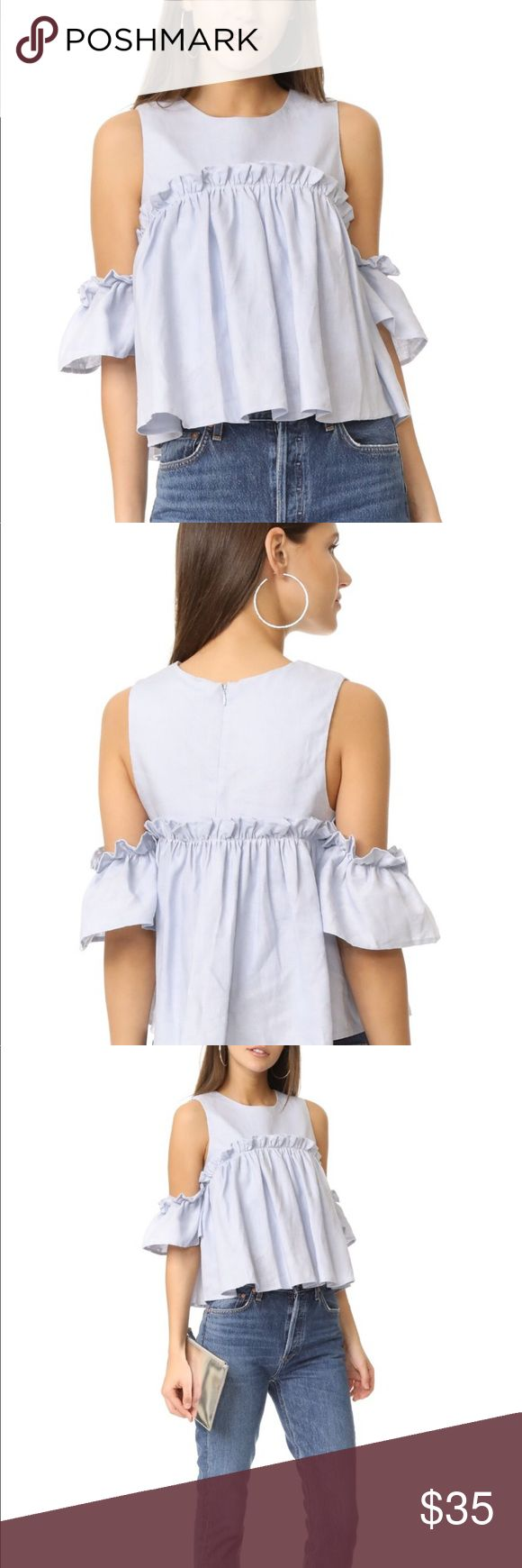 JOA Ruffle cold shoulder Top- Price Firm JOA Ruffle cold shoulder Top in light blue from Shopbop. EUC worn once. Just dry cleaned. Crisp linen blouse with draped ruffle overlay, semi attached ruffle sleeves. Lined. This is a GORGEOUS top! PRICE FIRM. Bundle for discount!! J.O.A Tops Blouses