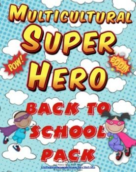 Multicultural Super Hero Theme Back to School Pack - Need a pack with super heroes with darker skin tones? This pack has super heroes that represent diverse super heroes! $