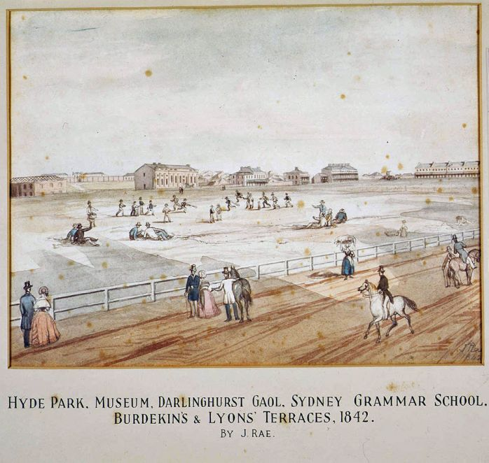 Cricket match in Hyde Park, Sydney 1842 The Australian Cricket Club, formed in 1826, was Sydney's first cricket club. Matches against other pub-based and military clubs were played regularly during the 1830s and 1840s at Hyde Park, where sheep grazed, soldiers paraded.  Many cricket clubs were based on pubs. The Australian Cricket Club was based at the Australian Hotel in George Street,  By Rae, John. From the collection of the State Library of New South Wales