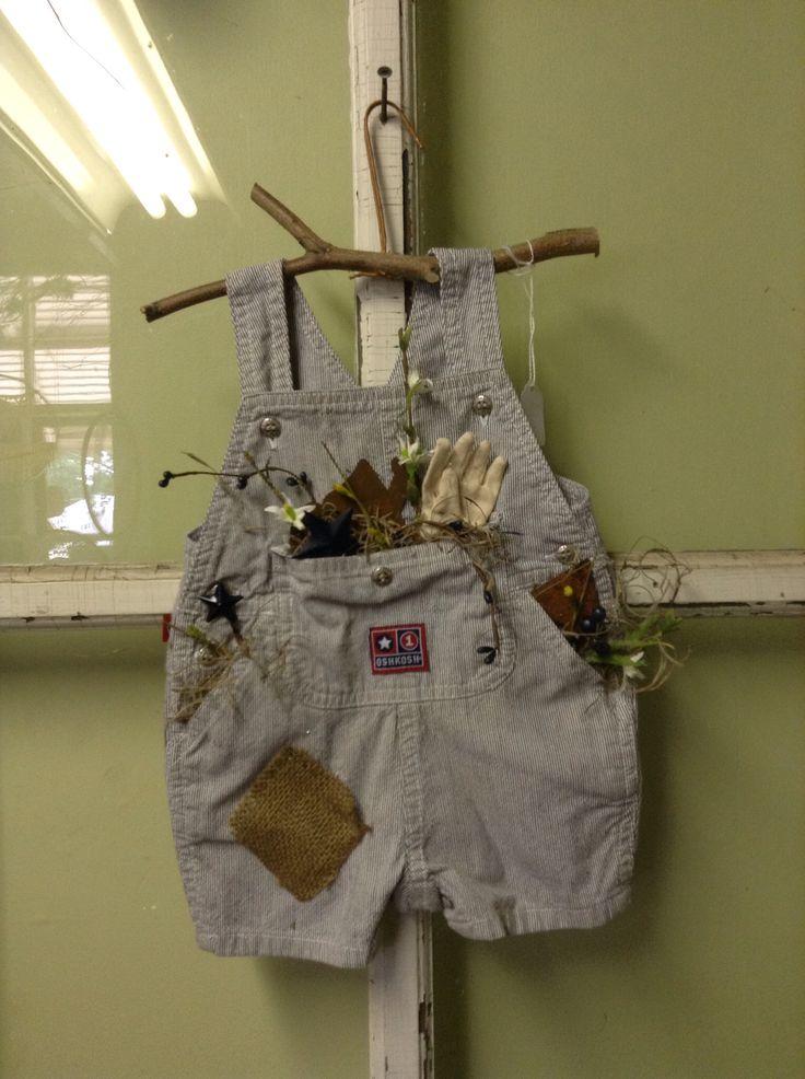 Upcycled Children 39 S Overalls Diy For Spring Primitive Spring Home Decor Mini Garden Overalls