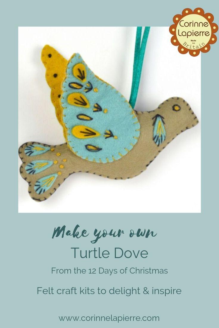 Felt Turtle Dove Mini Kit Felt Turtle Easy Christmas Diy Felt Christmas
