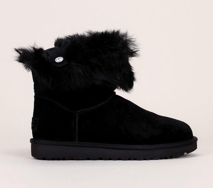 Boots fourrées cuir suède noir strass Valentina UGG