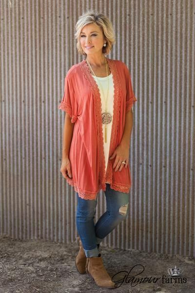 September Sunset Cardigan is on trend for fall. This over-sized kimono cardigan features a mineral washed, super soft knit fabric giving this cardigan a soft, distressed appearance. Open lapel, short