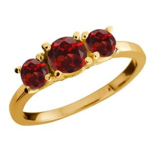 Gem Stone King  1.34 Ct Genuine Round Red Garnet Gemstone 10k Yellow Gold Ring  Suggested Price: 	$720.00  Price: 	$179.99
