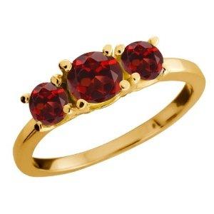 Gem Stone King  1.34 Ct Genuine Round Red Garnet Gemstone 10k Yellow Gold Ring  Suggested Price: $720.00  Price: $179.99