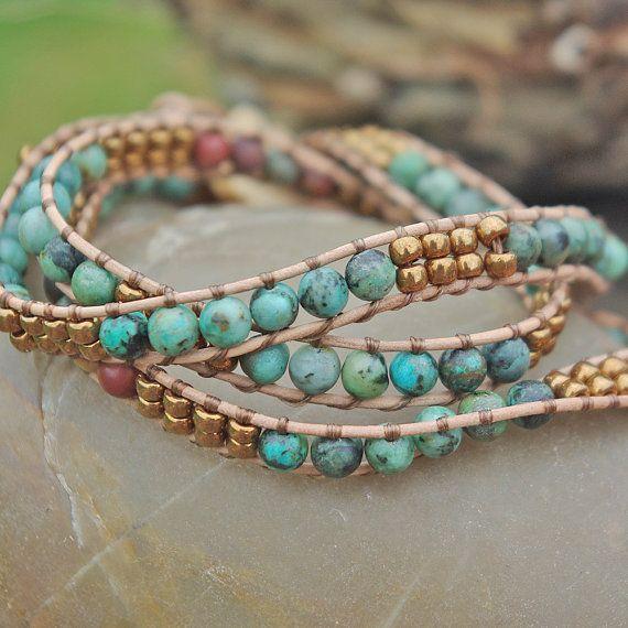 Leather Beaded Wrap Bracelet 3x Strand African Turquoise Boho With Wood On Etsy Bracelets