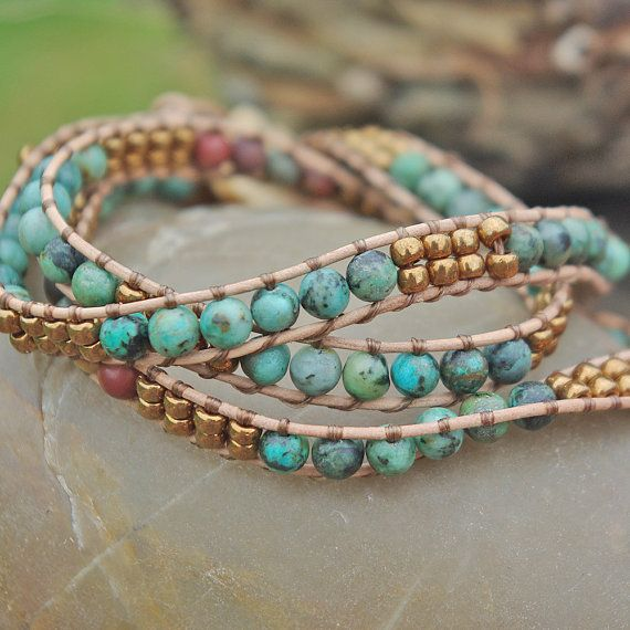Leather Wrap Bracelet- 3x Strand African Turquoise, Boho Leather Beaded Bracelet With Wood Button