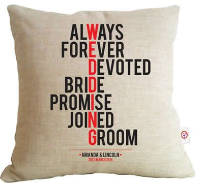 Personalised Linen Cushion Cover for Grown Ups - Wedding Typographic