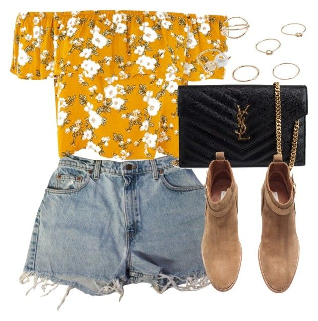 Untitled #6797 by laurenmboot on Polyvore featuring Levi's, H&M, Yves Saint Laurent and MANGO