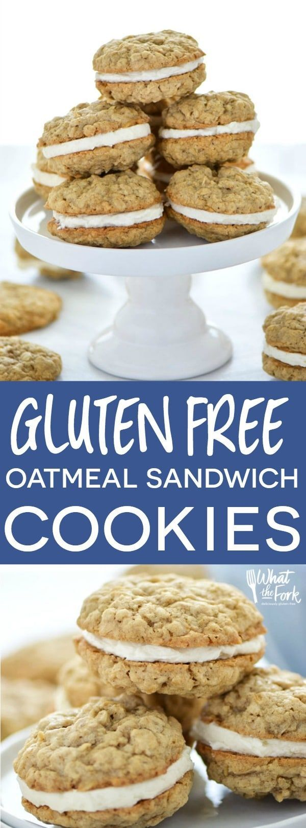 Gluten Free Oatmeal Sandwich Cookies are easy to make and super delicious! Recipe from @whattheforkblog | whattheforkfoodblog.com | Sponsored by @bobsredmill | gluten free desserts | gluten free cookie recipes | oatmeal cookies from scratch | vanilla butt