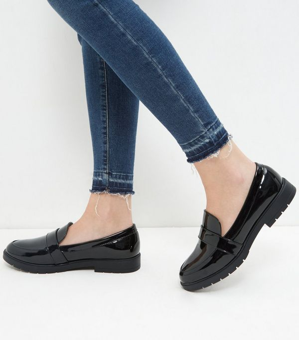 Wide Fit Black Patent Chunky Loafers | New Look
