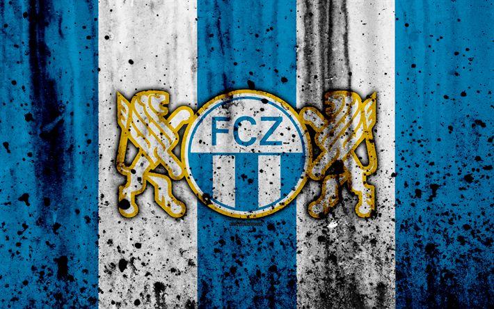 Download wallpapers FC Zurich, 4K, logo, stone texture, grunge, Switzerland Super League, football, emblem, Zurich, Switzerland
