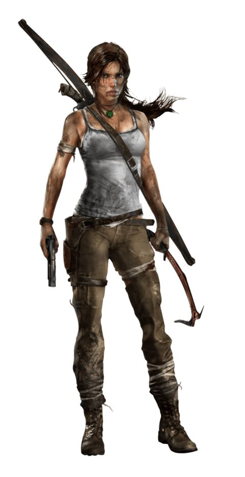 A computer generated image of a brown haired woman whose body faces to the right while her head is turned down towards the ground, and left hand is placed on her wounded shoulder. She wears a dirty white shirt, ripped green pants and black boots. She has several abrasions covered by cloth. The woman holds a bow in her right hand.