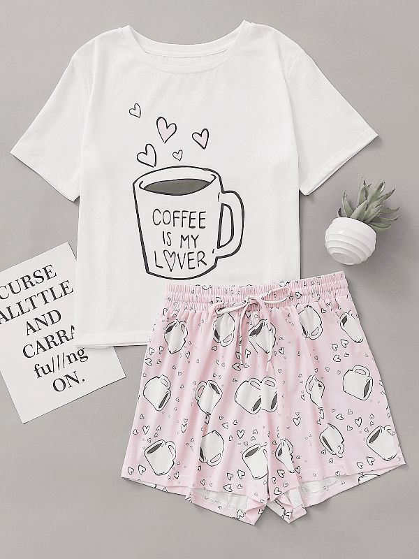 Cups Print Top With Drawstring Waist Shorts Pajama Set #Clothing#Dresses#Tops#Tees#Sweaters#Fashion#Hoodies#Sweatshirts#Jeans#Pants#Skirts#Shorts#Leggings#Active#Swimsuits#Cover#Ups#Lingerie#Sleep#lounge#Jumpsuits#Rompers#Overalls#Coats#Jackets#Vests#Suiting#Blazers#Socks#Hosiery