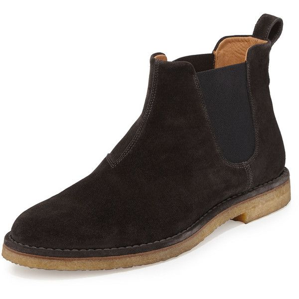 Vince Sawyer Suede Chelsea Boot (24.055 RUB) ❤ liked on Polyvore featuring men's fashion, men's shoes, men's boots, graphite, mens suede chelsea boots, mens suede shoes, mens suede boots, mens sports shoes and mens suede slip on shoes