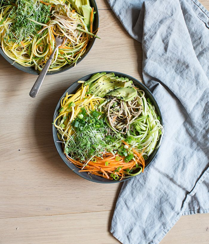 cold soba noodle salad with raw veggie noodles + a spicy sunflower seed sauce via what's cooking good looking