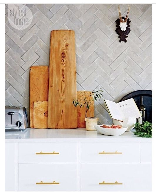 Inspiration, white cabs, grey tile, pattern, natural wood