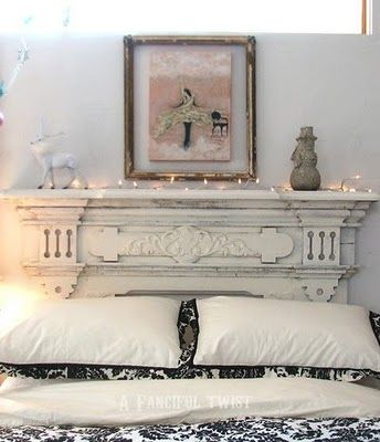 Fireplace mantle as a headboard. Need this for mine & the hubs room. Must go thrift store shopping NOW!