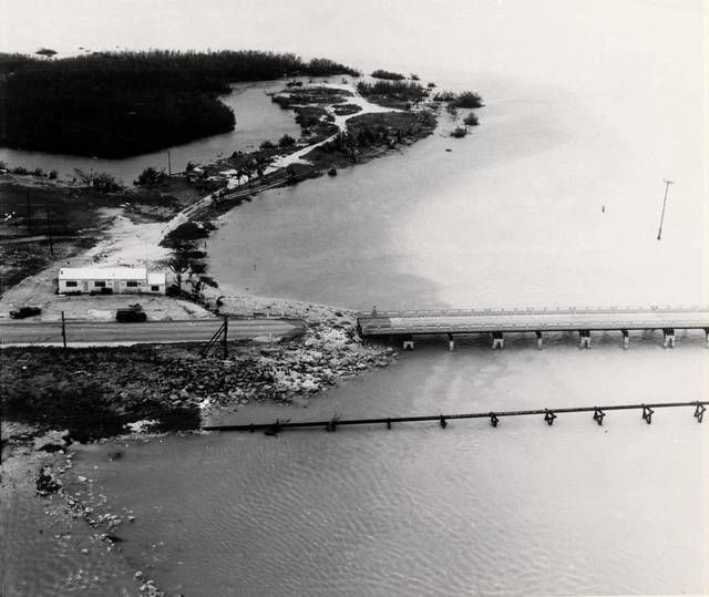 An aerial view of the Robbie's property from 1960 shows the bridge had been washed out during Hurricane Donna.