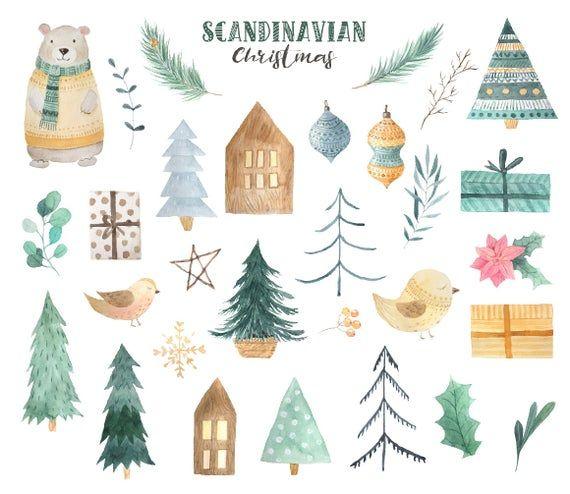 Watercolor Christmas Holiday Winter Clipart Scandinavian Etsy In 2020 Christmas Watercolor Christmas Illustration Christmas Art