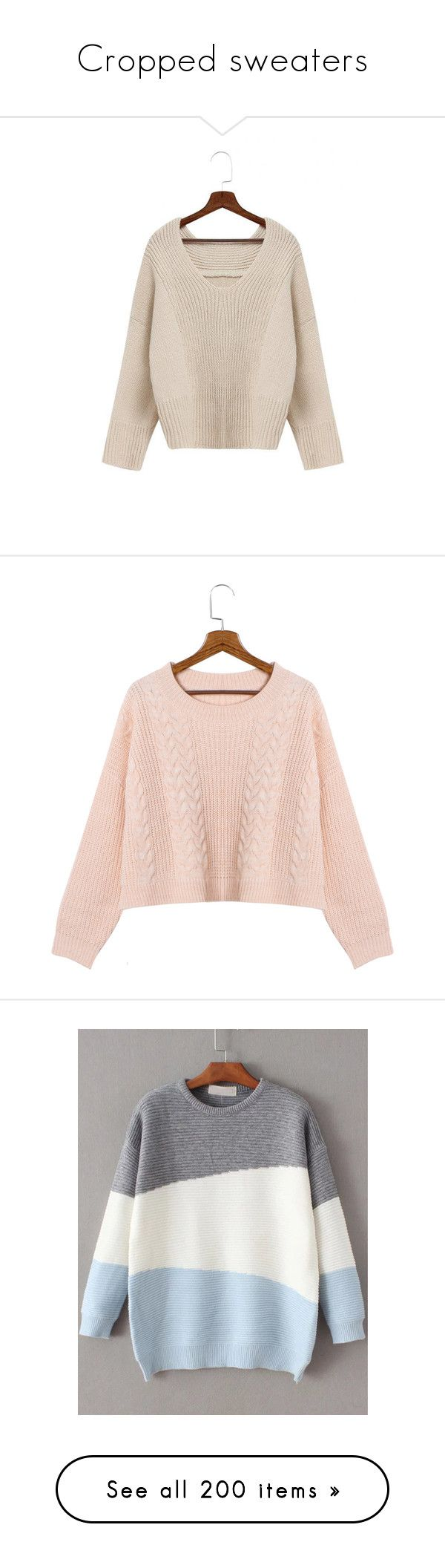 """""""Cropped sweaters"""" by stellacolor21 ❤ liked on Polyvore featuring tops, sweaters, beige, pink knit sweater, v-neck sweater, beige knit sweater, loose knit sweater, loose fitting sweaters, yoins and pink"""