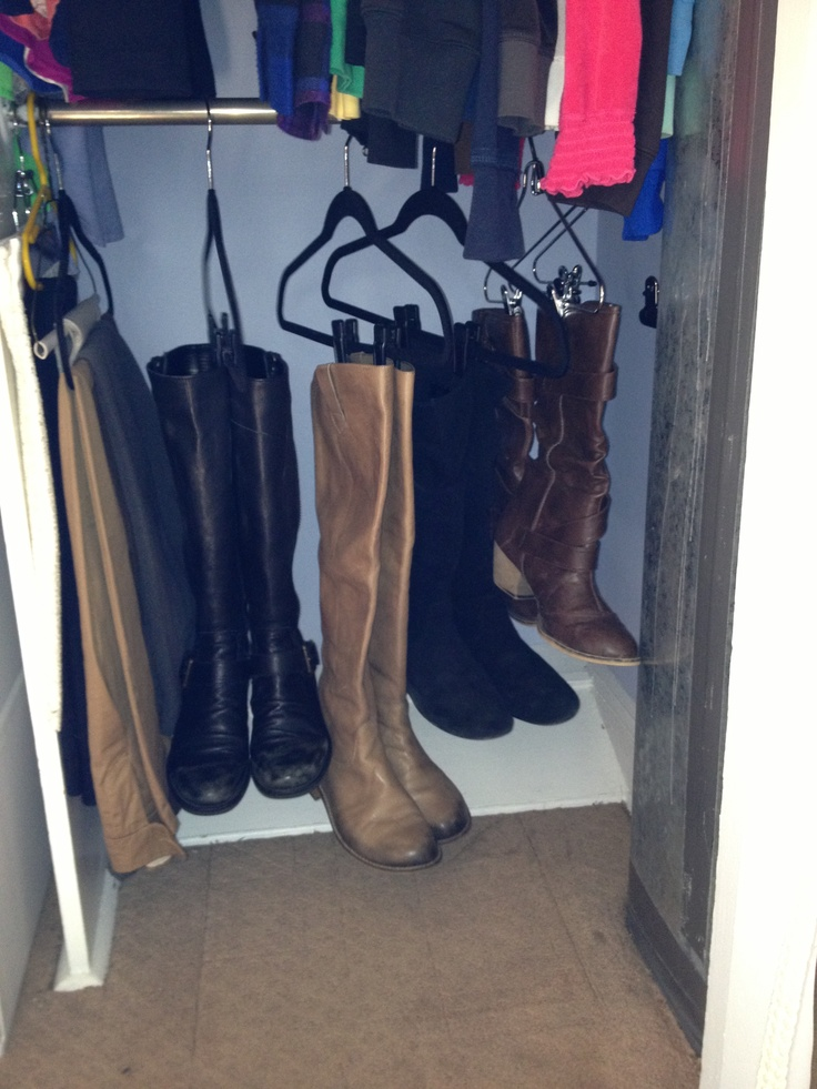 Best way to store your boots - I always had mine in their boxes at the top of my shelf, but now I see them as soon as I open my closet =) !!
