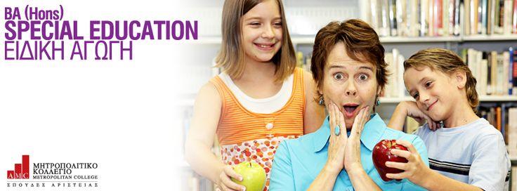 BA (Hons) Special Education (Ειδική Αγωγή) Το πρόγραμμα σπουδών προσφέρει μια ευρεία γνώση των παιδαγωγικών, της εκπαίδευσης και κοινωνικοποίησης του παιδιού και απευθύνεται σε φοιτητές οι οποίοι θέλουν να προσφέρουν στον χώρο της Ειδικής Αγωγής. Στα πλαίσια του προγράμματος εξετάζεται η εφαρμογή της ειδικής αγωγής στην πράξη, υπό το πρίσμα της θεωρητικής προσέγγισης και του νομικού πλαισίου που την διέπει. http://ow.ly/tthlW