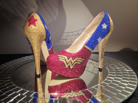 Wonder Woman Inspired High Heel Glitter Shoes for Women ...