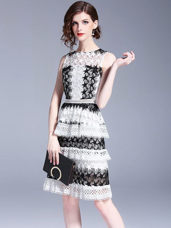 b0a04fd5178 Vinfemass Slim Color Block Stars Pattern Lace Layered Party Dress in ...