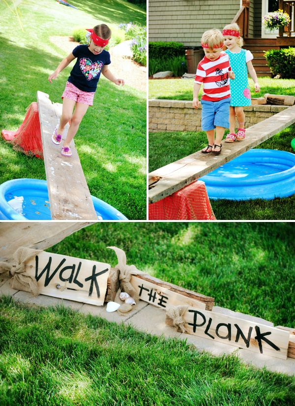 Shipwreck Inspired Backyard Pirate Party  - Dress like a 'matey' - Could do a peg leg race (Have kids jump on one leg across the finish line)