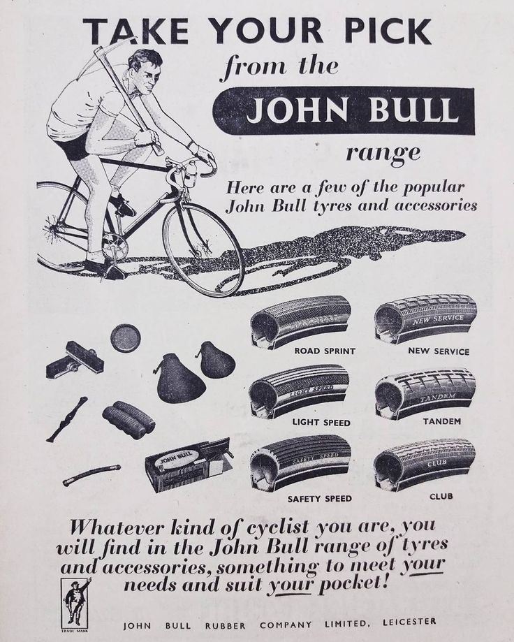 John Bull Rubber Company Ad for their tyres and accessories 1957. #johnbullrubberco #bicycleaccessories #bicycletyres #vintagecycling #vintagebicycle #eroica #rouleur #bicyclecomponents #bicyclecomponent #bicyclemechanic #hookedoncycling #componentdesign #retrocycling #retrobicycle #cyclepassion  #bicyclemechanics #lovecycling #advertising #graphicdesign